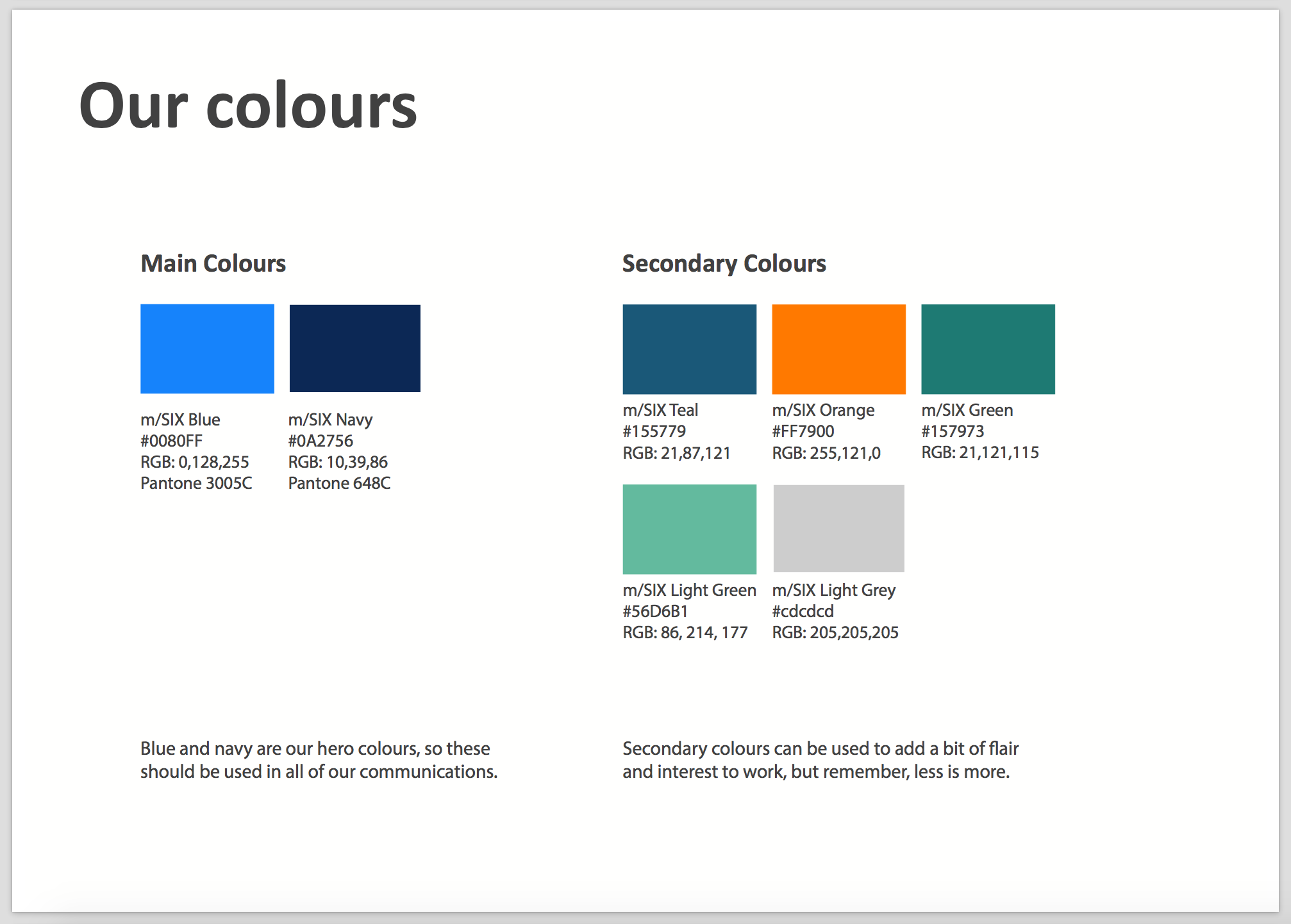 Our colour guidelines