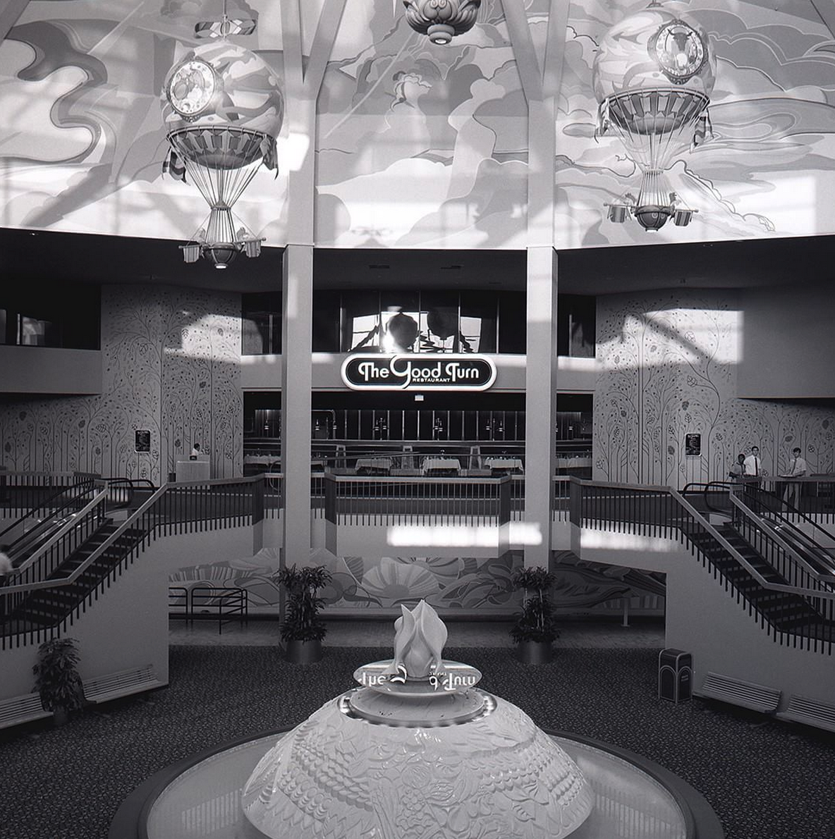 The lounge's windows are visible above The Good Turn Restaurant in this 1982 picture of The Land. Photo: www.epcotlegacy.com