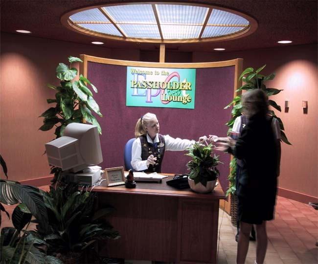 The reception desk during the lounge's brief stint as an AP Lounge. Photo: WDWMagic
