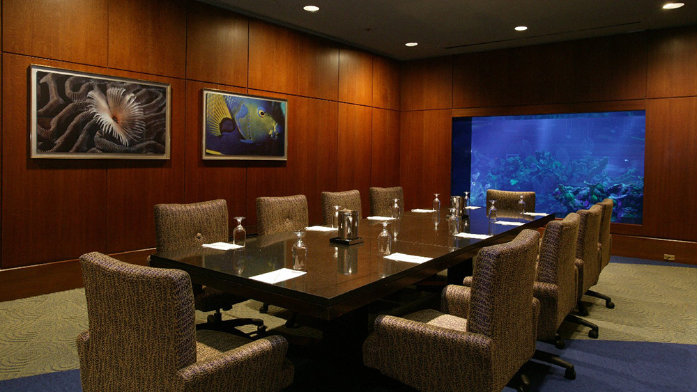 The conference room, with a seriously Dr No vibe.