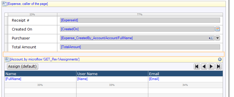 Account is already passing 'Expense' into the 'GET_Rev1Assignments' Microflow. 'Department' needs to be linked inside of the association.