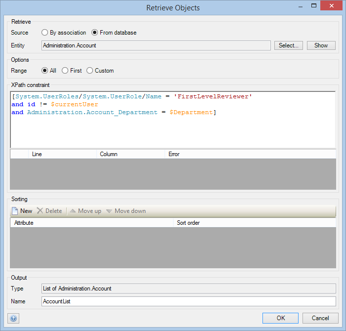 As you can see, I added the link to the $Department into the XPath constraint of the 'Account'