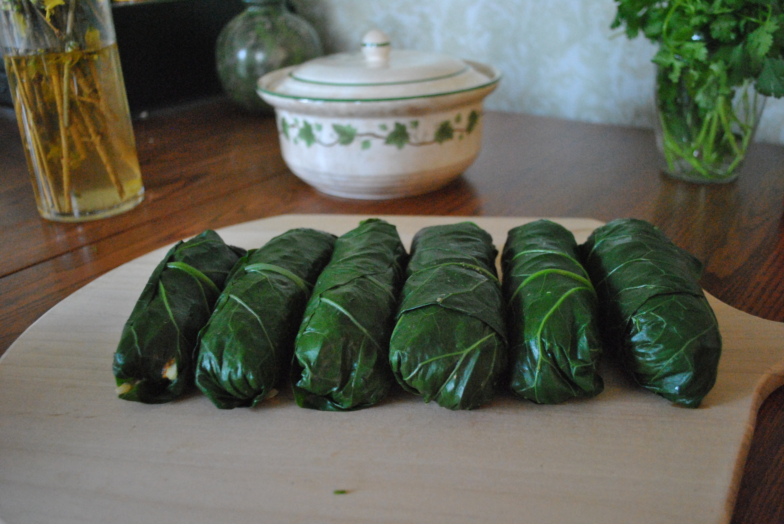 Delicious Collard Green Spring Rolls prepared with love by  Chelsea Grace Cherrier