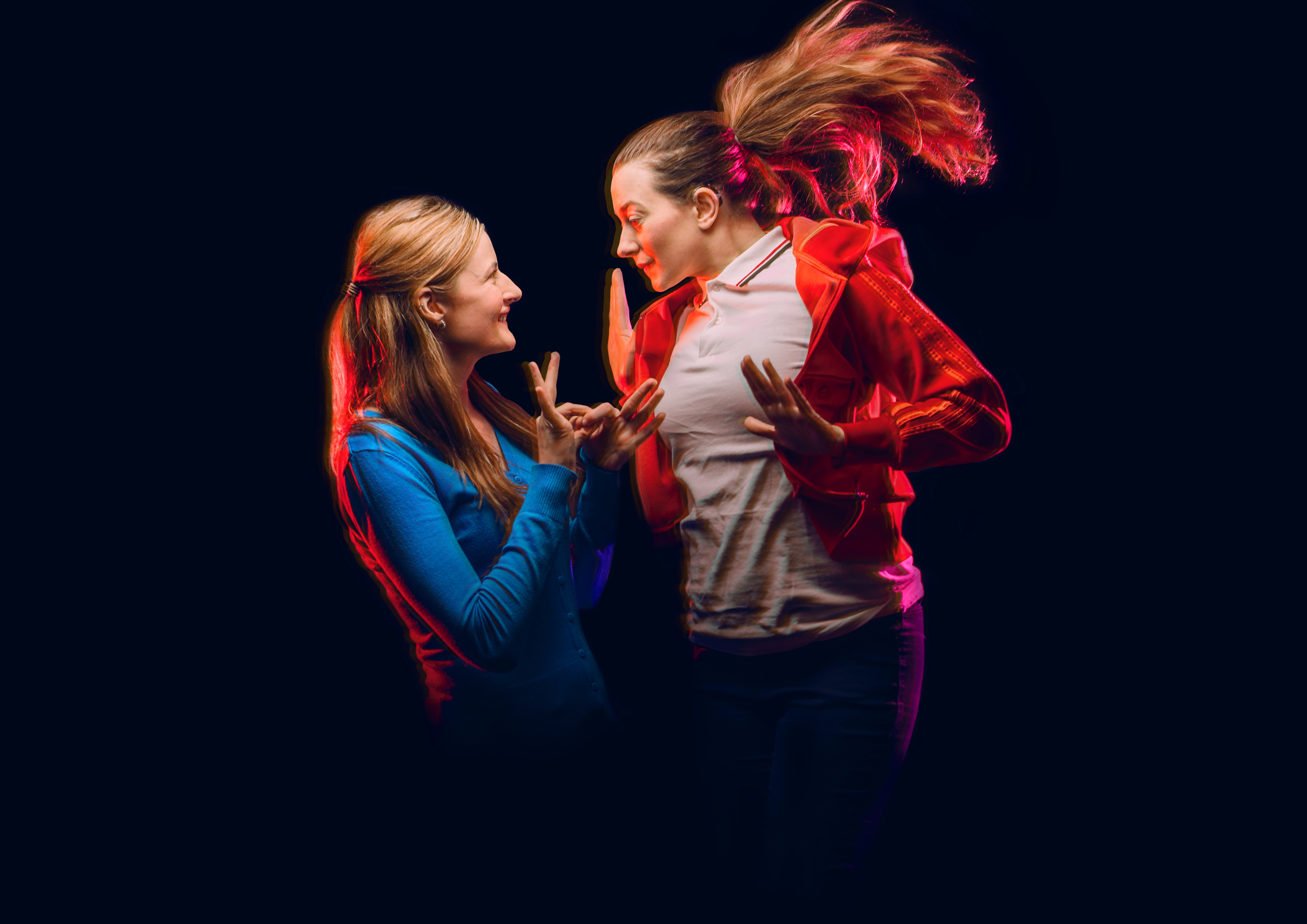 Erin Siobhan Hutching with Sophie Stone in the promotional image for the 2016 Edinburgh Fringe Festival, Image by David Monteith-Hodge.