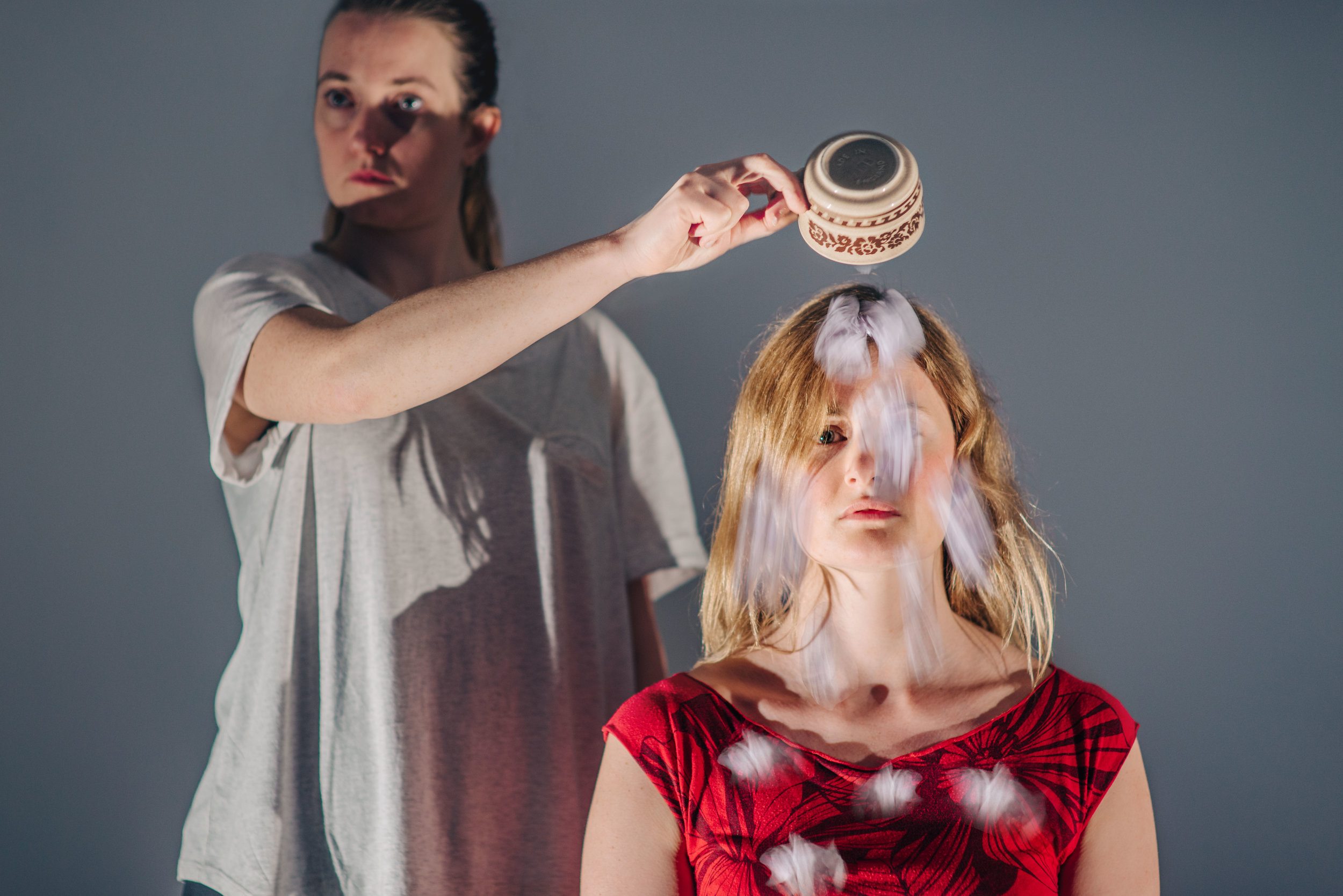 Sophie Stone and Erin Siobhan Hutching in an early R&D of People of the Eye. Image by David Monteith-Hodge