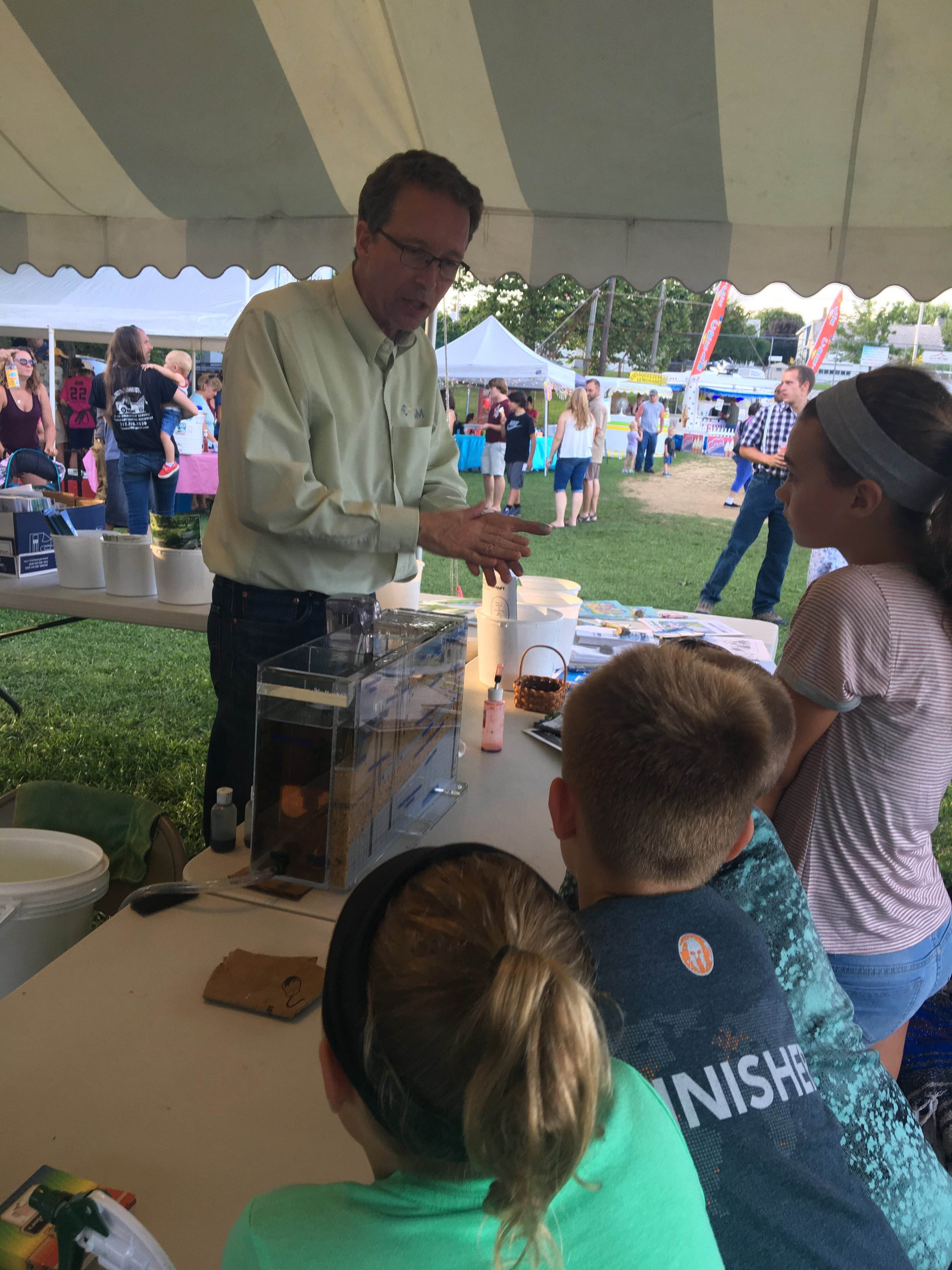 Darrell Belz demonstrates the groundwater model at Terre Hill Days