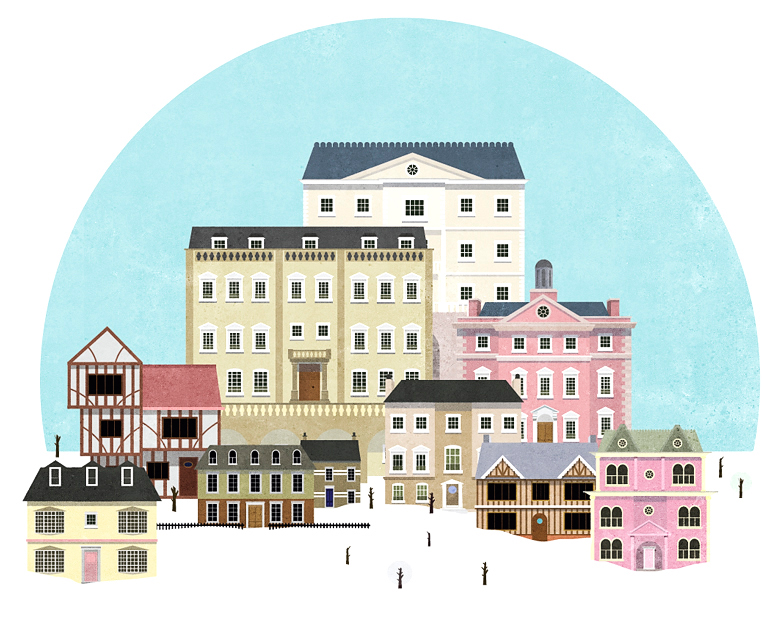 Contemporary Snow Town