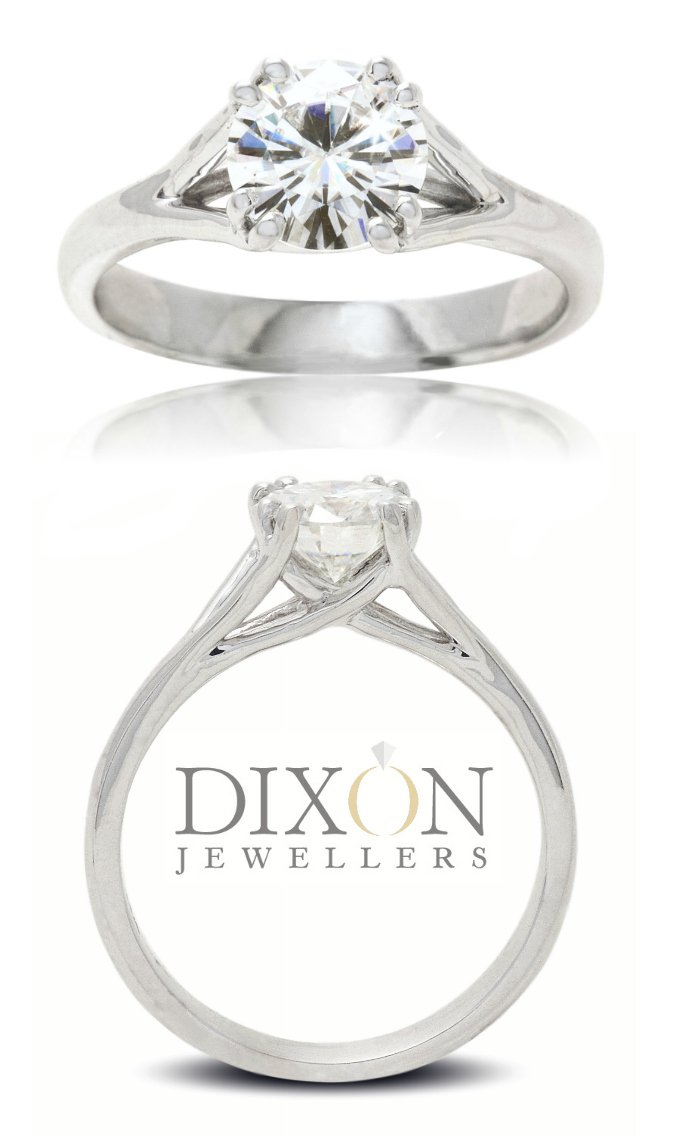 Double Prong, Trellis Style Solitaire Engagement Ring
