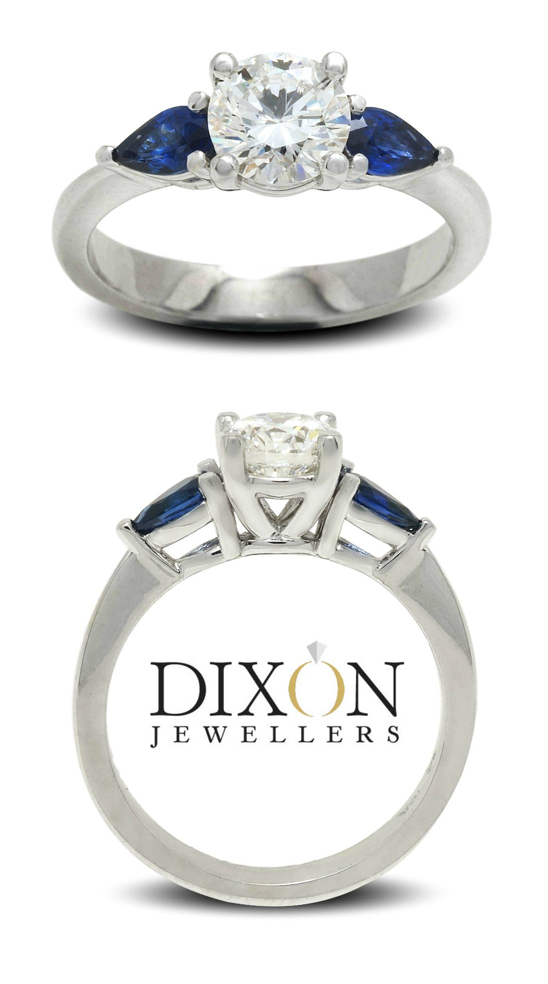 Custom Diamond Engagement Ring with Sapphire Should Stones