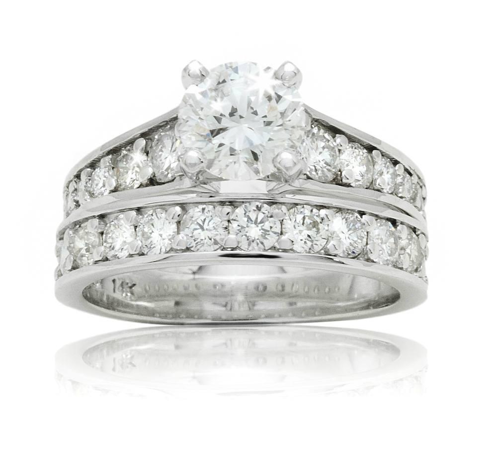 Custom Wide, Diamond Set Band Engagement Ring with Matching Diamond Wedding Band