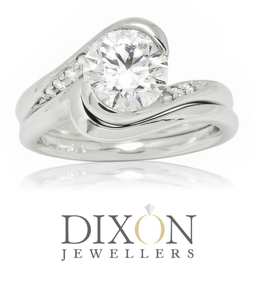Custom Diamond Accented Bypass Style Engagement Ring with Fitted Wedding Band