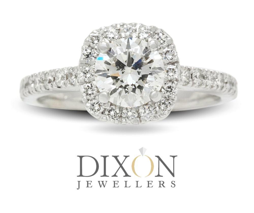 Soft Square Halo Custom Diamond Engagement Ring