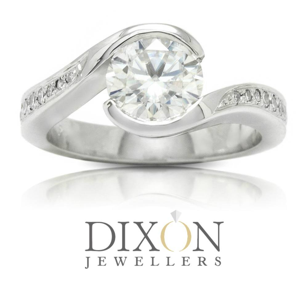 Diamond Accented Custom Bypass Style Moissanite Engagement Ring