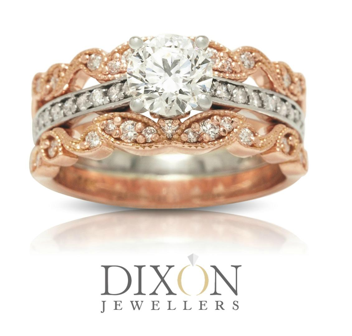 Classic Engagement Ring Accented by Two Custom Rose Gold Bands