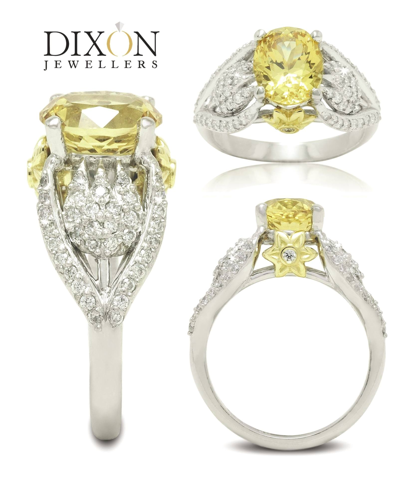 Custom Yellow Sapphire & Diamond Engagement Ring with Floral Motif