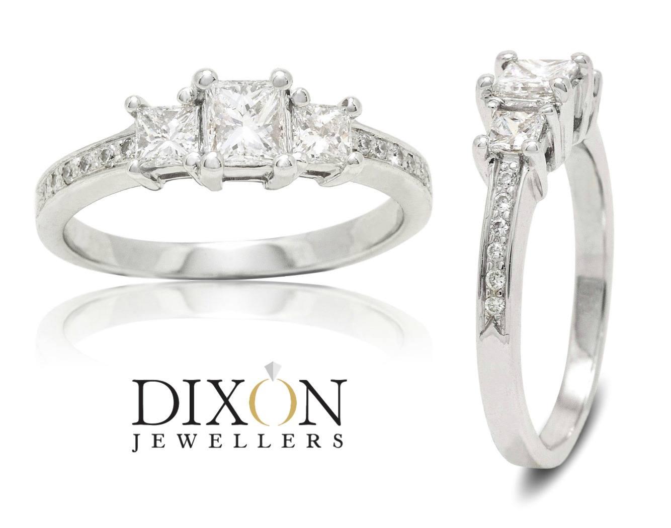 Three Stone Princess Cut Engagement Ring