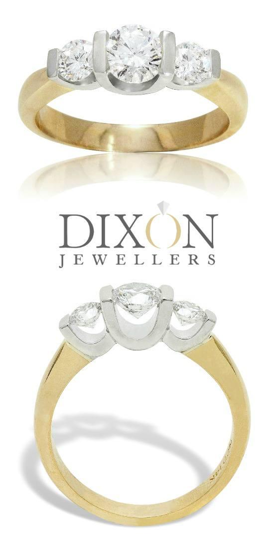 Floating 3 Stone Diamond Engagement Ring