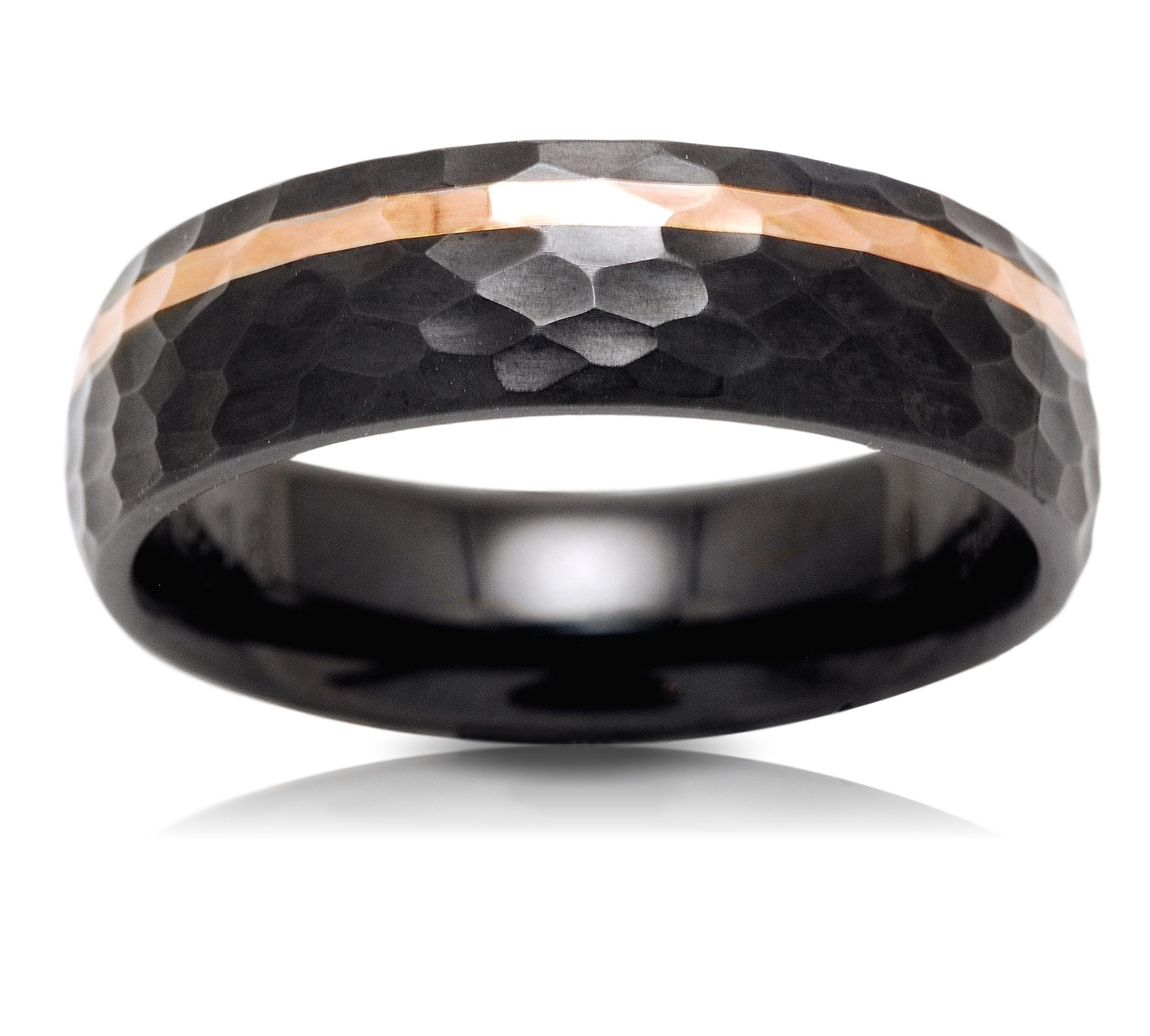 Zirconium and Rose Gold Wedding Band by Lashbrook Designs