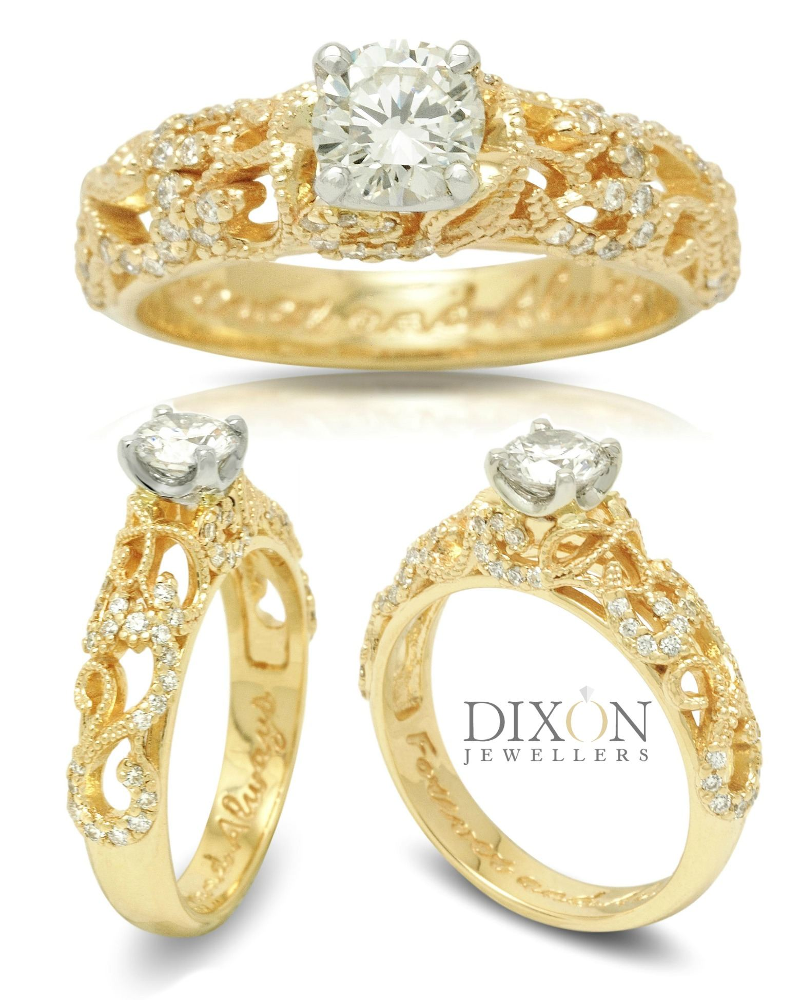 Filigree Detail Custom Diamond Engagement Ring