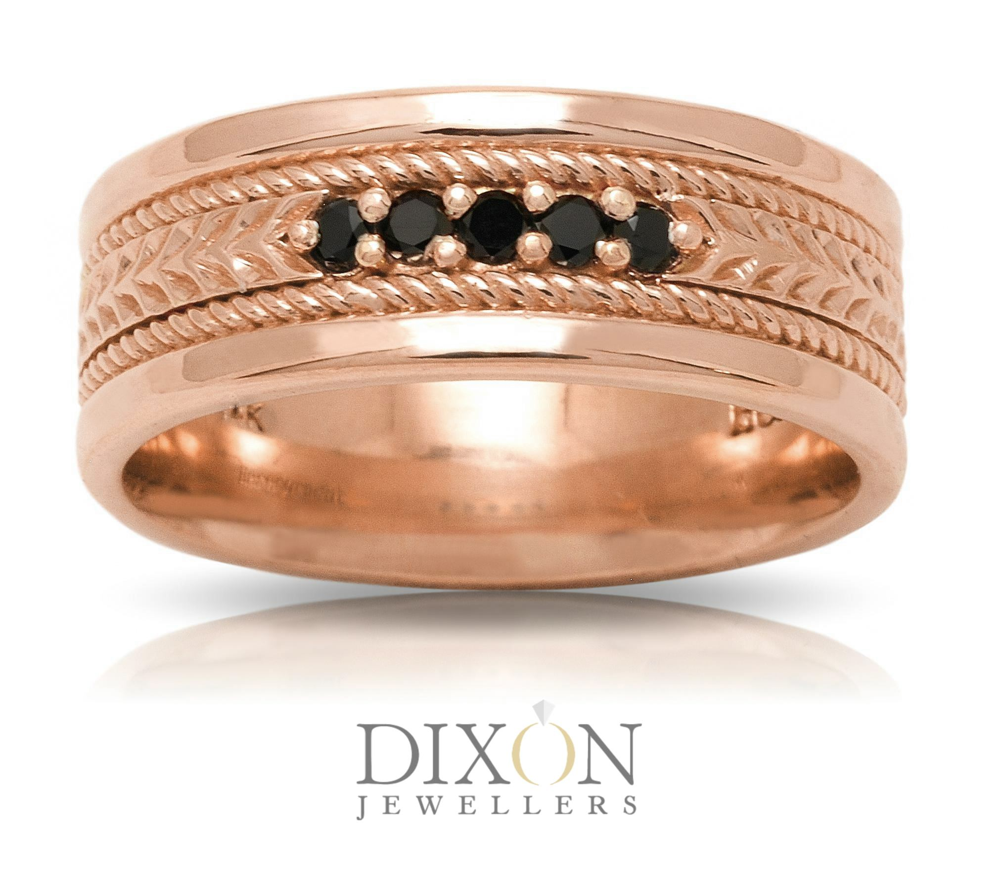 Rose Gold Men's Wedding Band with Five Black Diamonds Accented by Rope Detailing