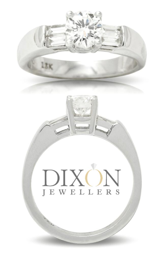 Diamond Engagement Ring with Double Baguette Cut Diamond Shoulders