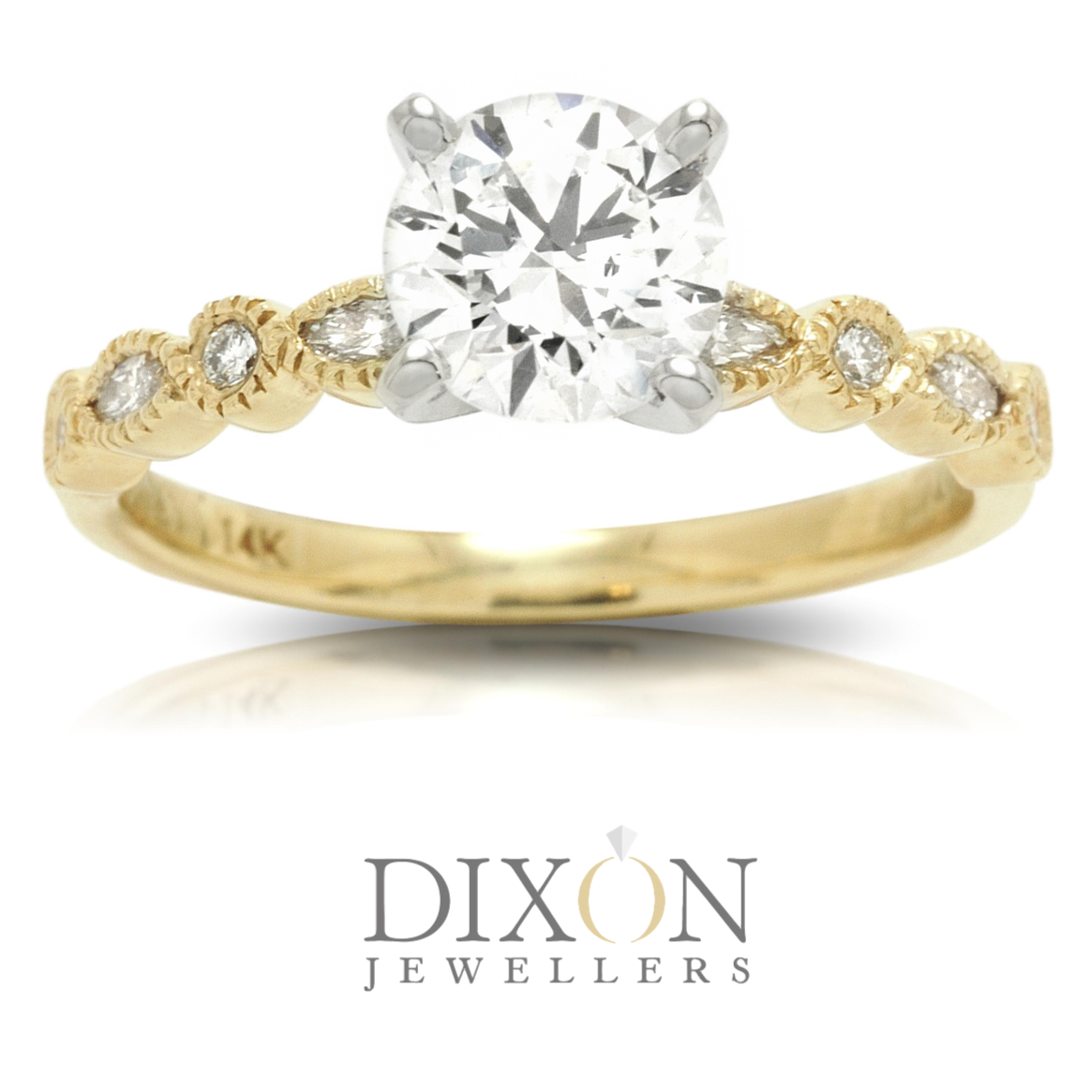 Dainty Custom Engagement Ring in Yellow Gold