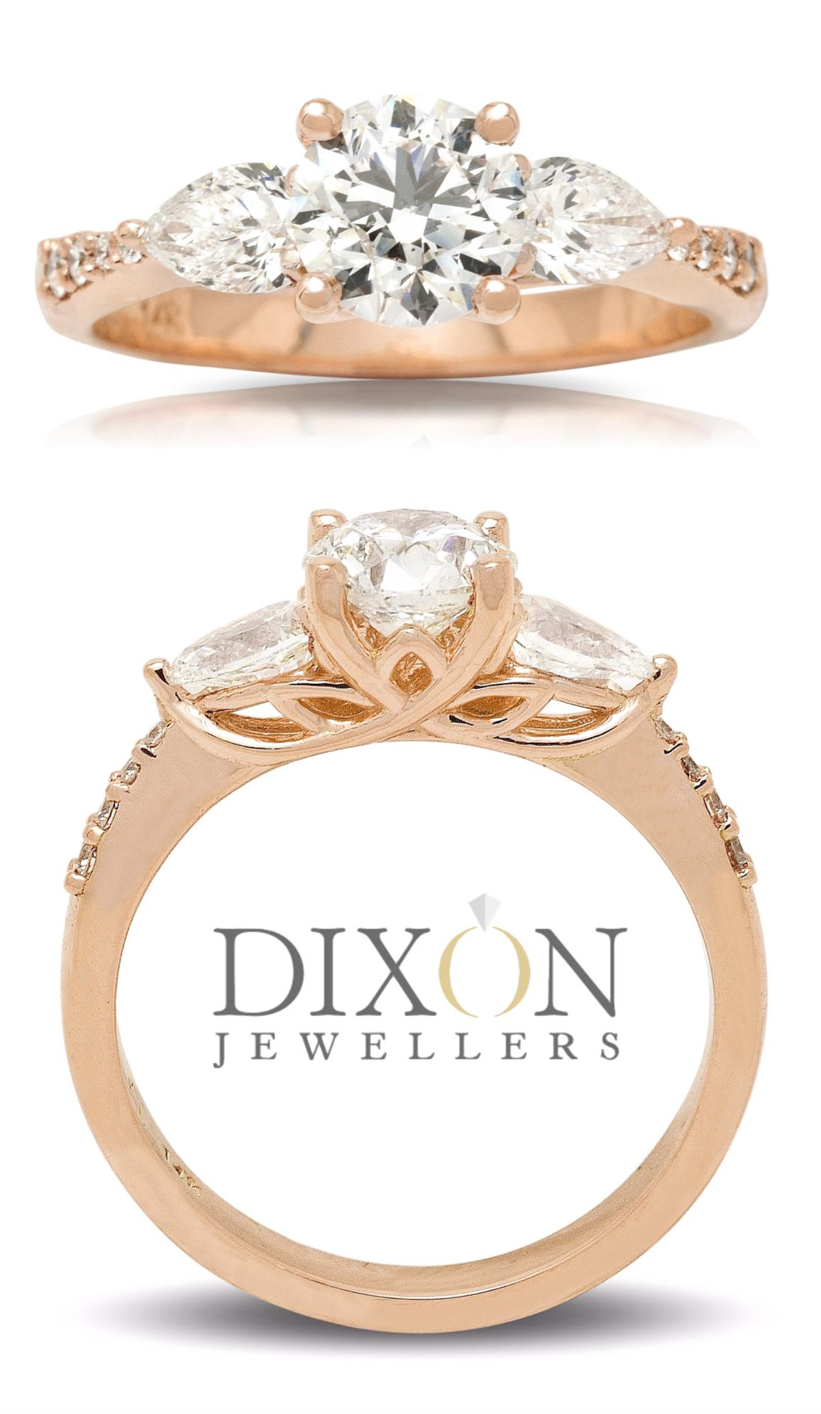 Rose Gold Engagement Ring with Pear Cut Shoulder Stones