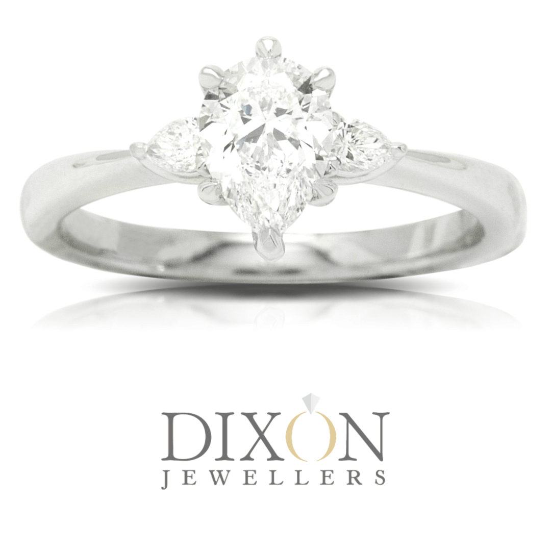 Dainty Pear Cut Diamond Engagement Ring
