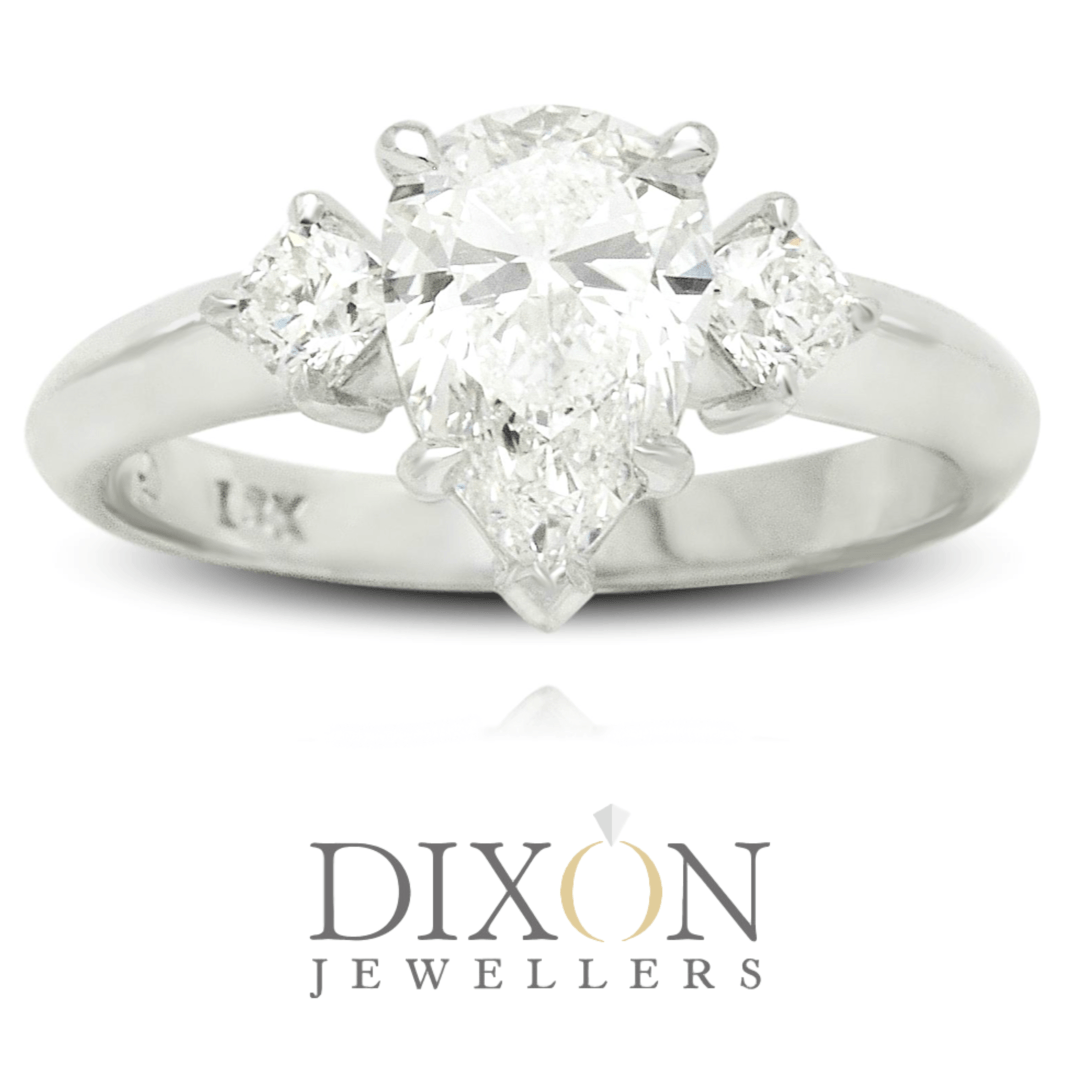 Pear Cut Diamond Engagement Ring with Princess Cut Diamond Shoulders