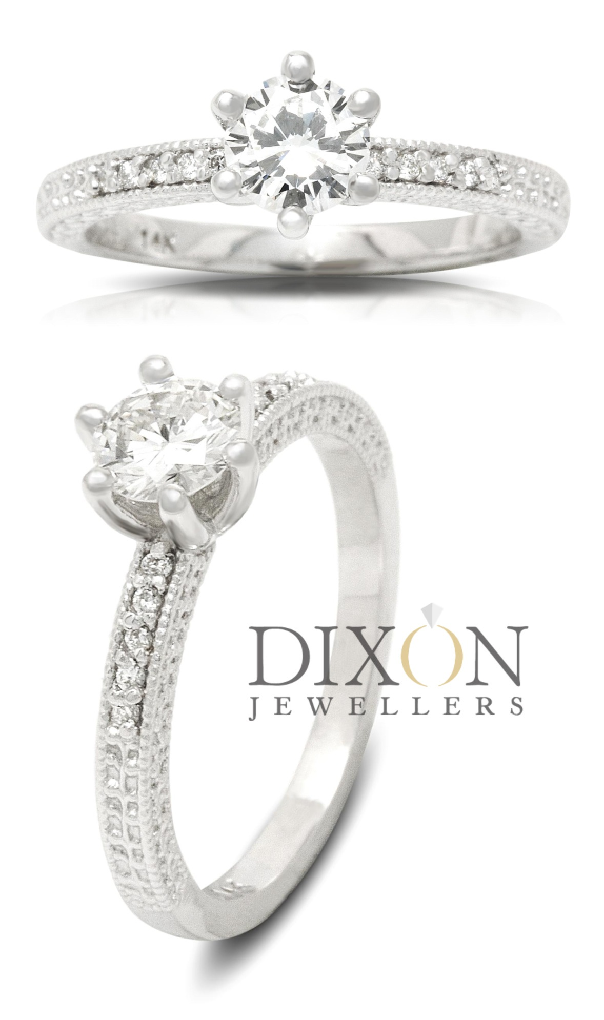 Six Claw Diamond Engagement Ring with Engraved Sides