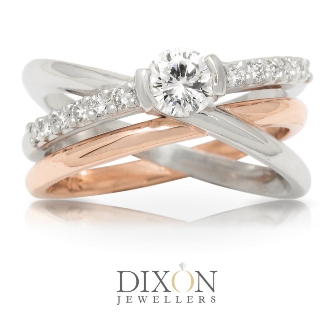 Custom Diamond Ring in Platinum and Rose Gold