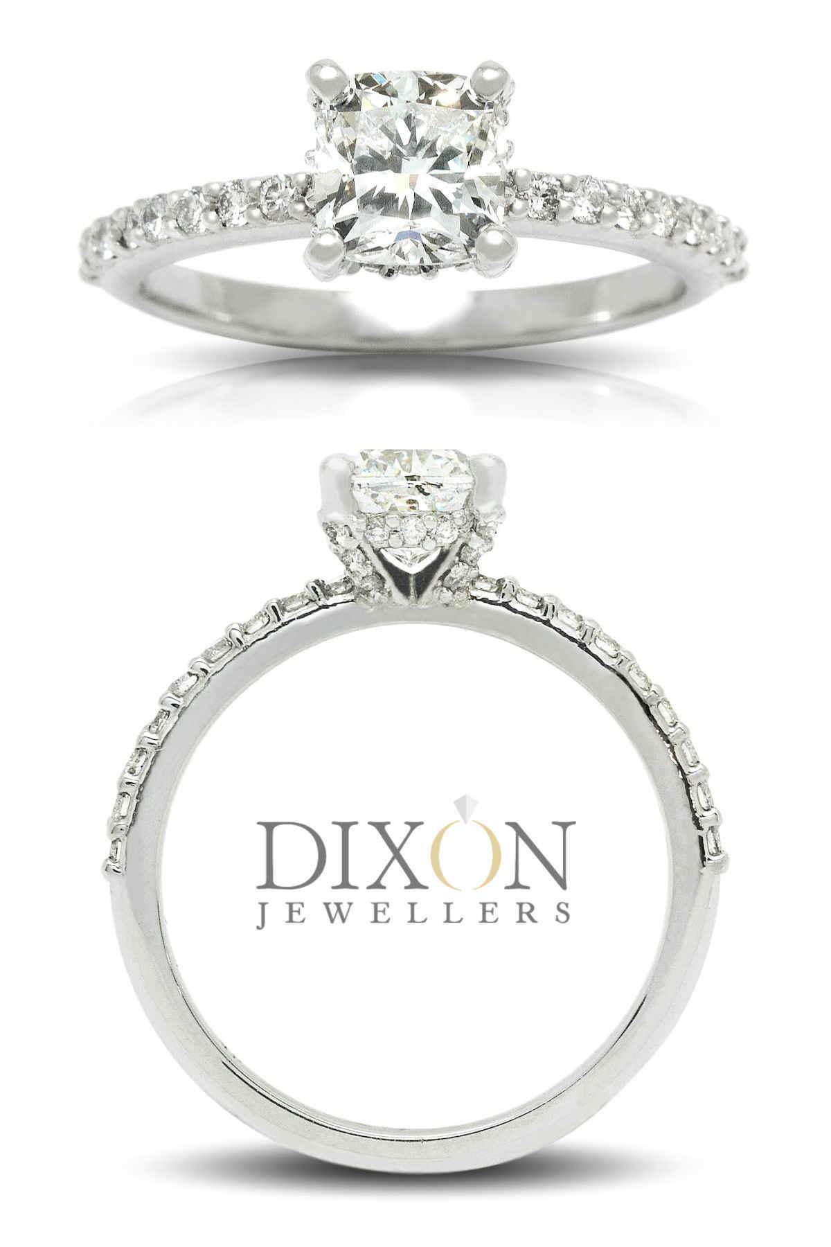 Cushion Cut Engagement Ring with Diamond Encrusted Setting