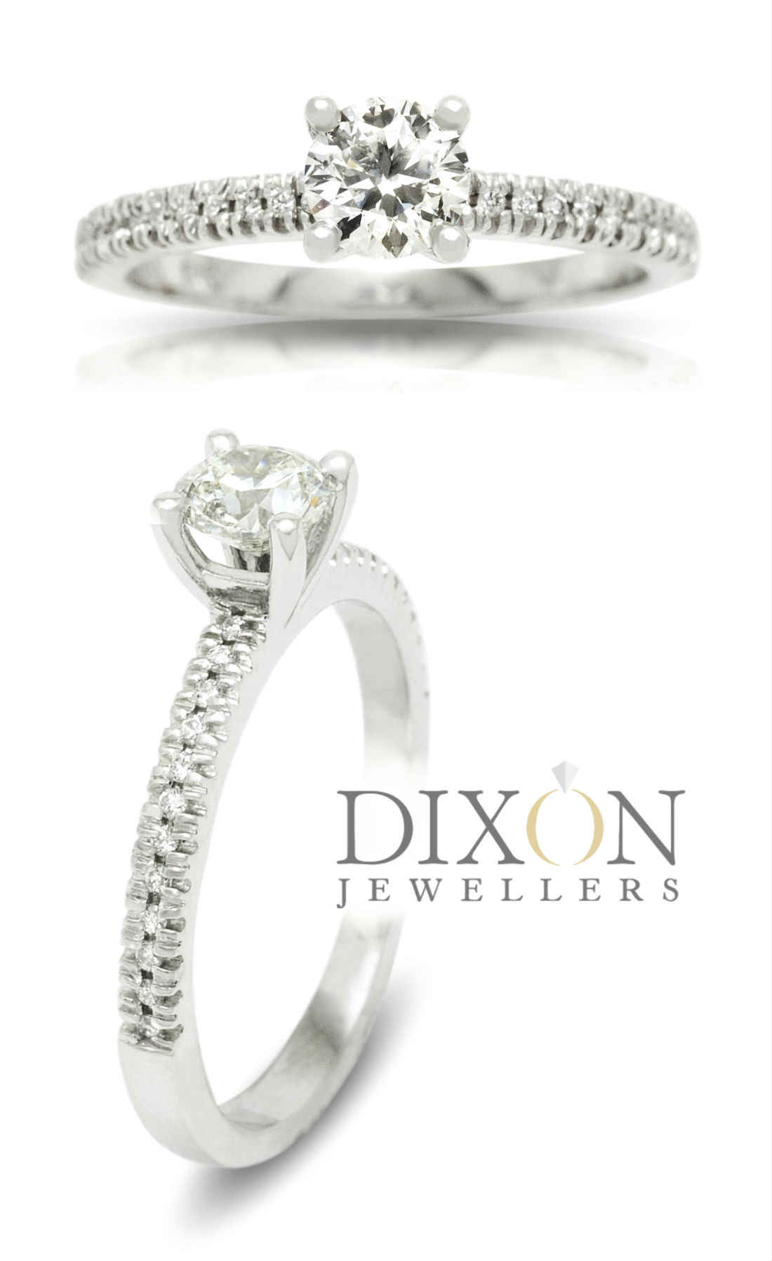 Thin Sparkling Diamond Band Engagement Ring