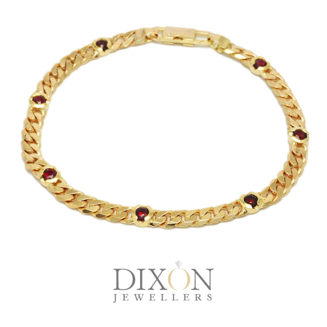 Ruby Station Bracelet in Yellow Gold
