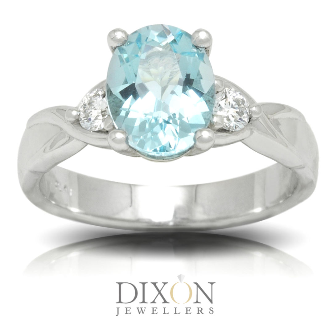 Blue Topaz and Diamond Ring in Platinum