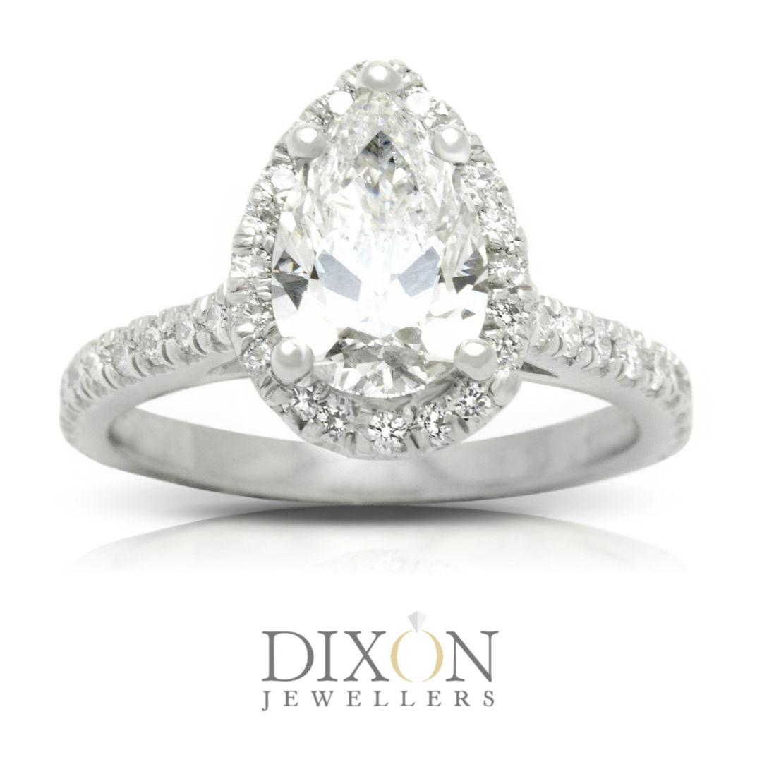Custom Pear Cut Diamond Halo Engagement Ring