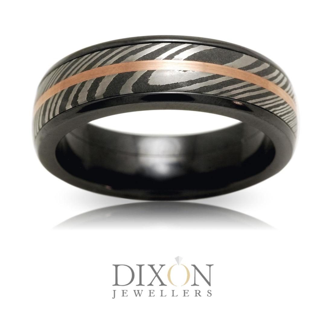 Custom Men's Zirconium Ring with Damascus Steel and Rose Gold Inlays