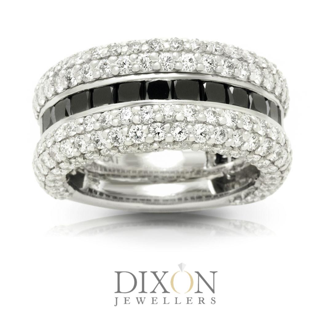 Custom Men's Wedding Band with Black and White Diamonds