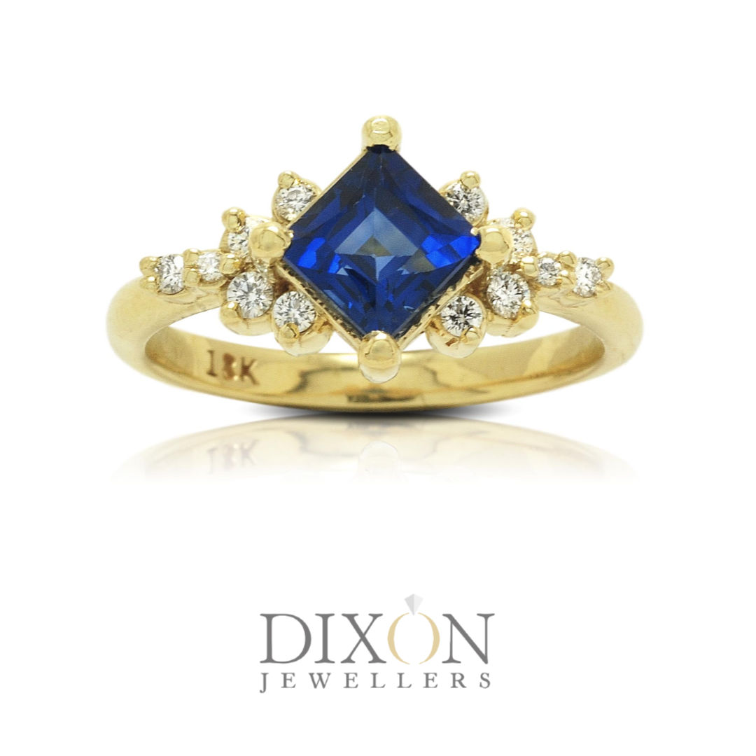 Custom Princess Cut Sapphire and Diamond Engagement Ring