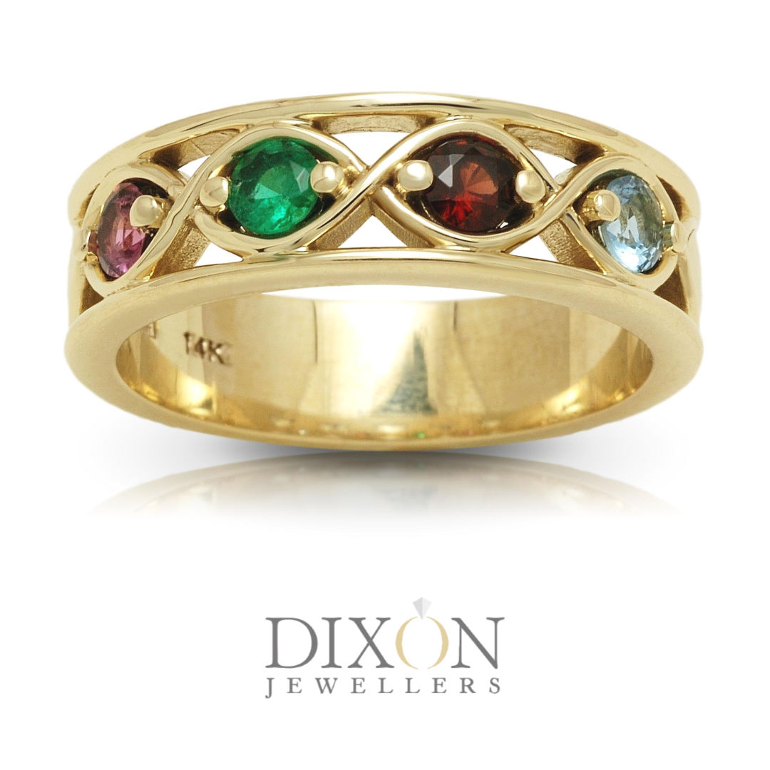 Custom Four-Stone Family Ring in Yellow Gold