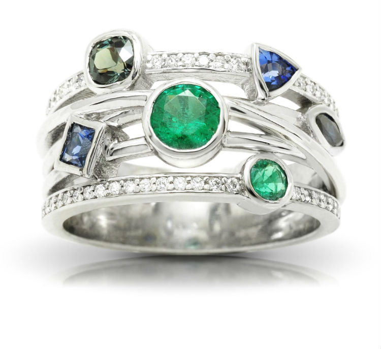 Multi-Gemstone Family Ring