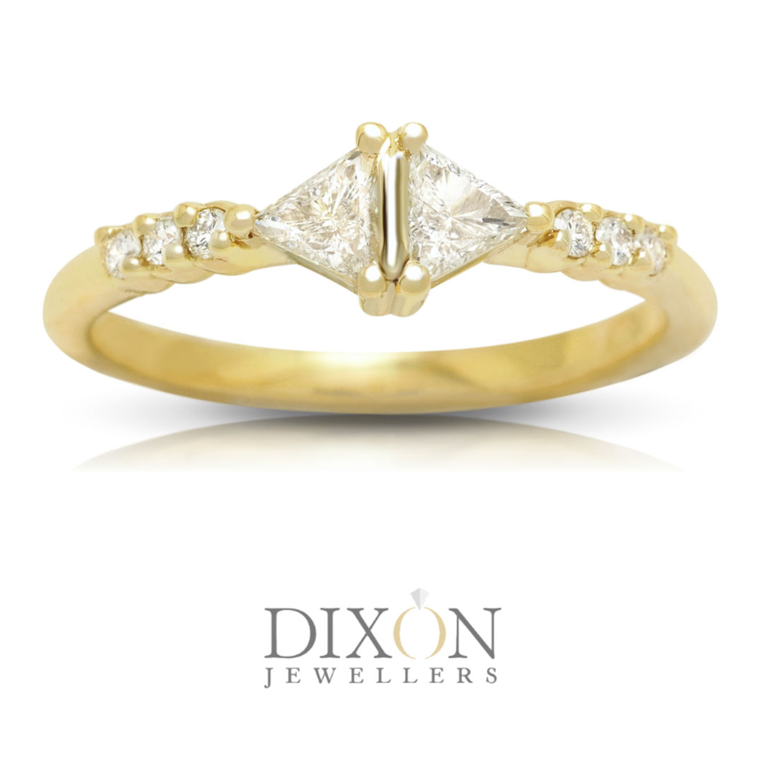 Custom Double Triangle Diamond Ring in Yellow Gold
