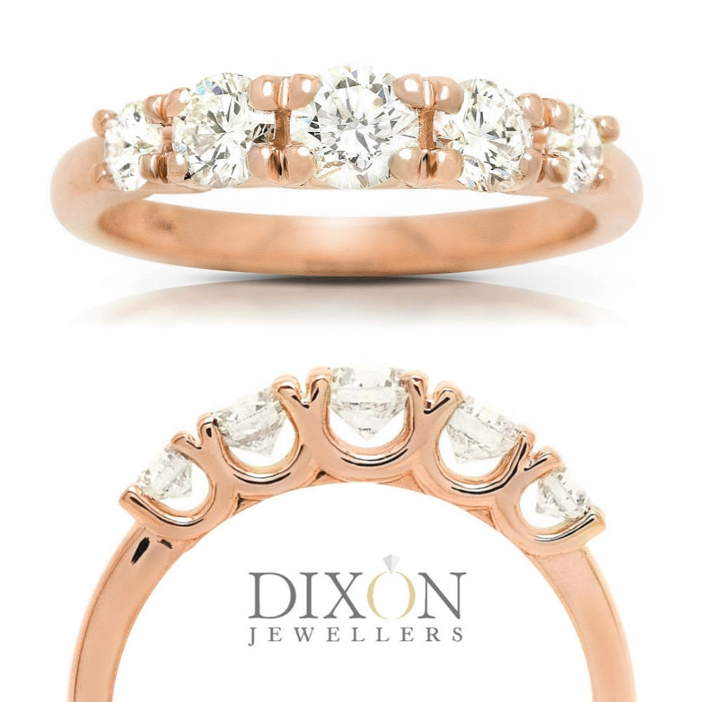 Custom Graduated Diamond Engagement Ring in Rose Gold
