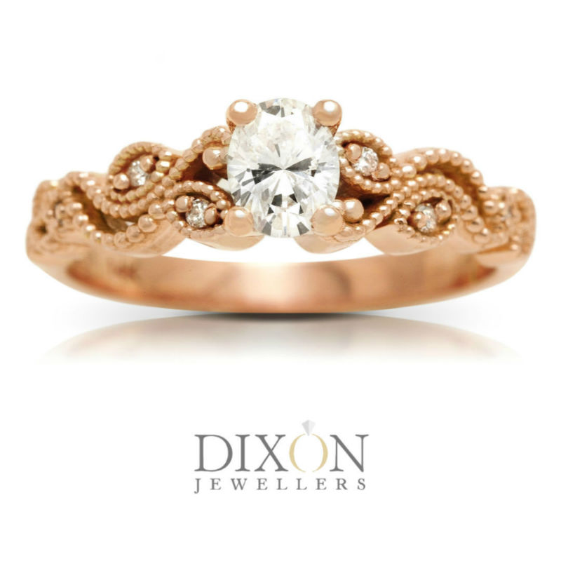 Romantic Custom Engagement Ring with Oval Diamond in Rose Gold