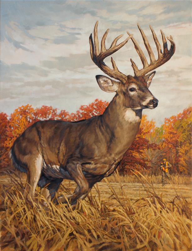 Original White-tailed Deer Painting Running and Gunning by Ryan Kirby