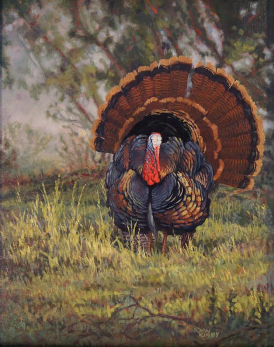 ryan_kirby_original_wild_turkey_painting_daybreak_display
