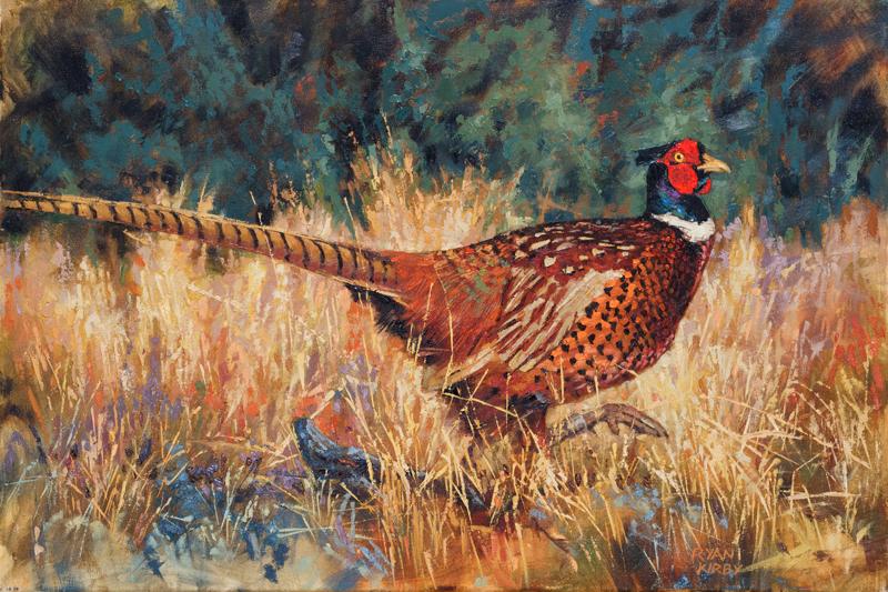 ryan_kirby_original_pheasant_painting_the_runner