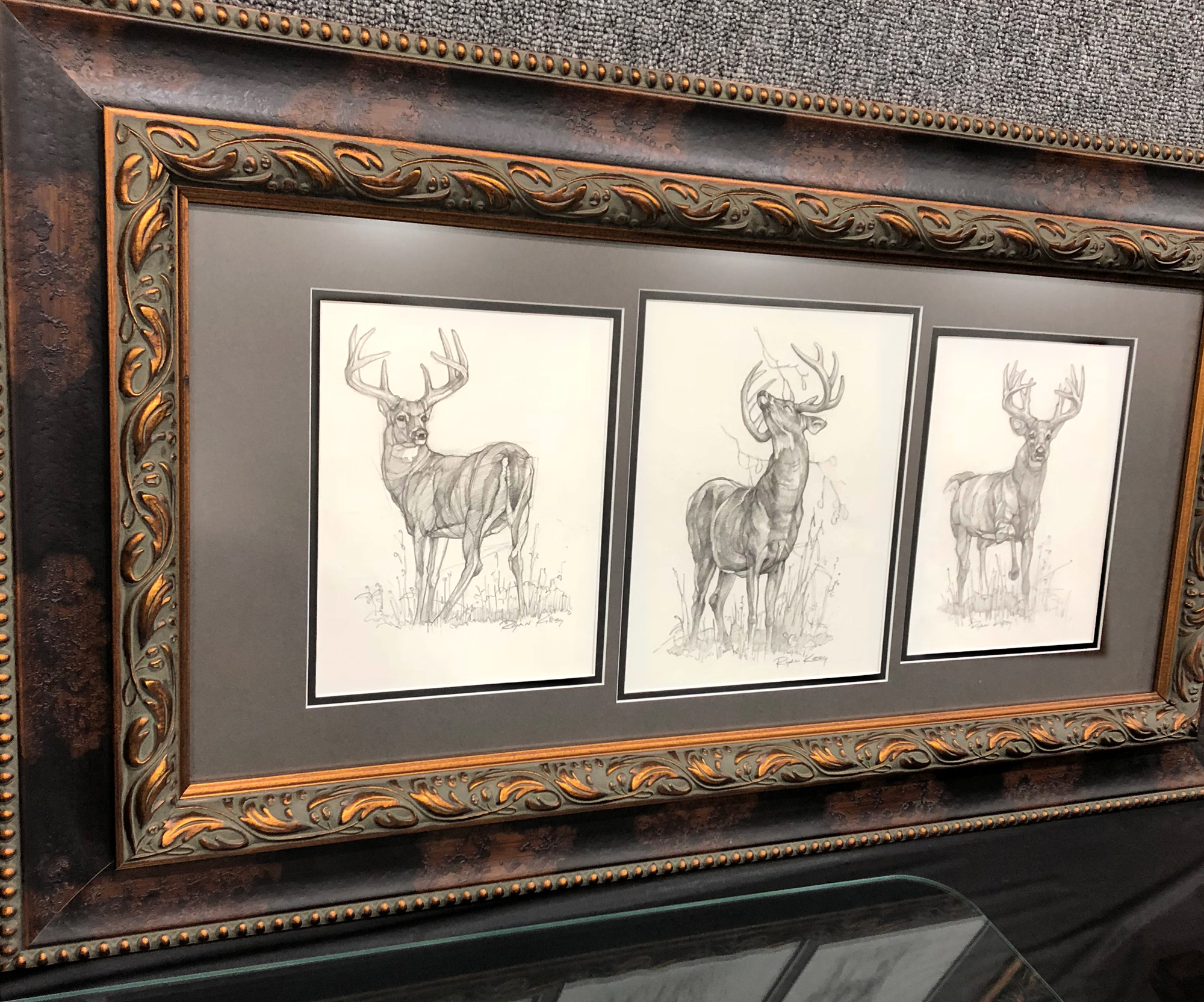 A series of three whitetail sketches framed together raised $1,000 for the Warsaw Fall Classic.