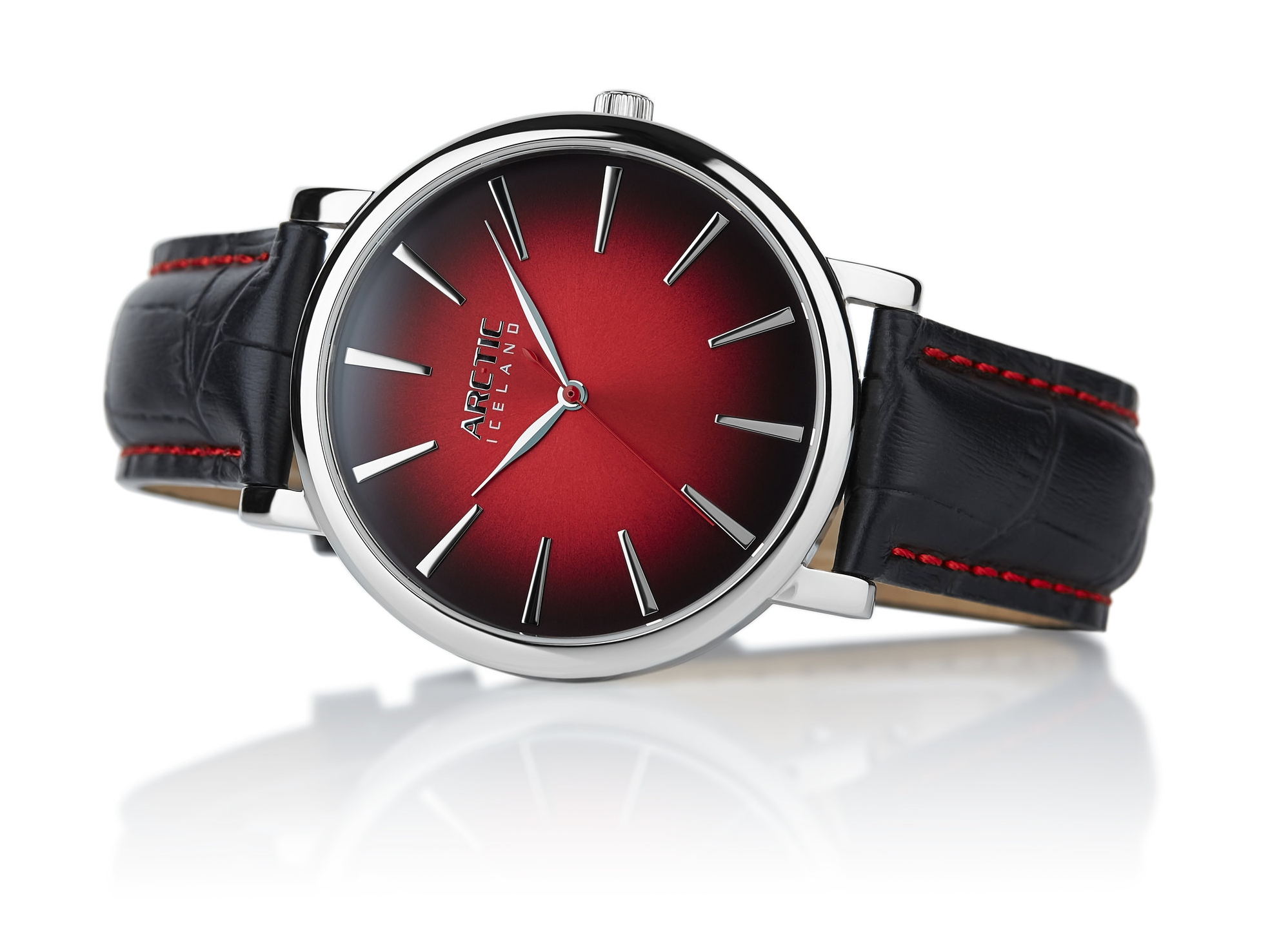 ARC-TIC Iceland Retro red 42mm or 36mm with black leather strap -   Learn More