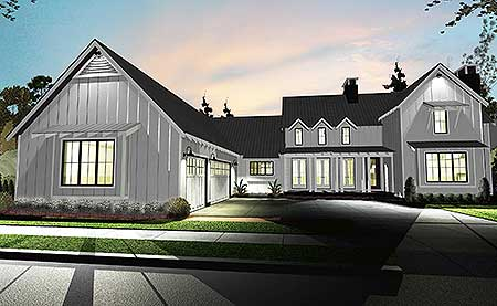 This 4 bedroom modern day farmhouse plan gives you a master down layout with a wide-open floor plan. Huge porches front and back, and a third porch on the side, give you great spaces to enjoy the fresh air. The exterior features open, raked eaves, steep gable roofs, board and batten cladding. The great room has 2-story ceilings and is open to both the kitchen and dining room. The kitchen features a large island with workspace and seating and a walk-in pantry. Upstairs, three bedrooms share two baths. A built-in desk gives you room to work in the common area. 2700+ sf, 4 br, 3.5 baths, 3-car garage.  Contact us  for pricing.